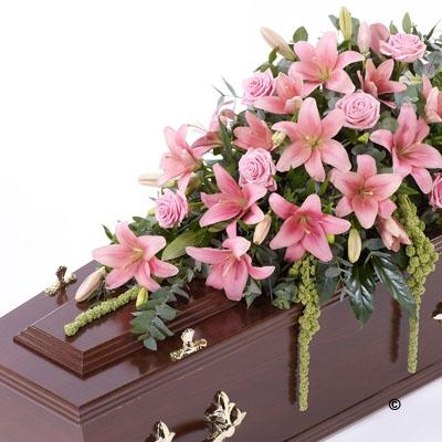 Lily and Rose Casket Spray   Pink